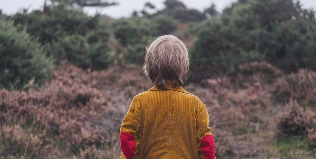 Boy outdoors looking at trees