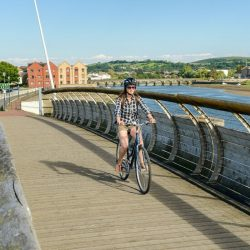 Cyclist on Tarka Trail in Barnstaple