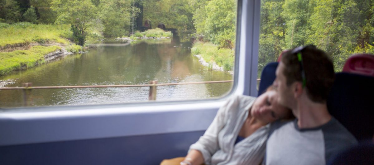 Couple on Tarka Line railway to Exeter